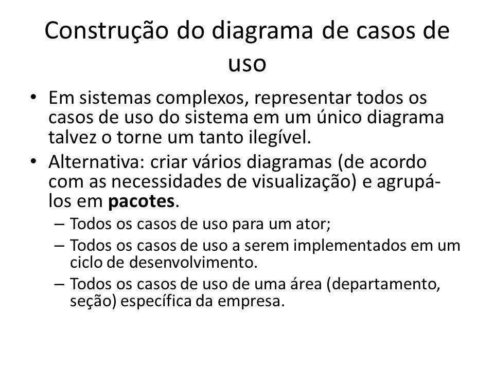 Construção do diagrama de casos de uso Em sistemas complexos, representar todos os casos de uso do sistema em um único diagrama talvez o torne um tant