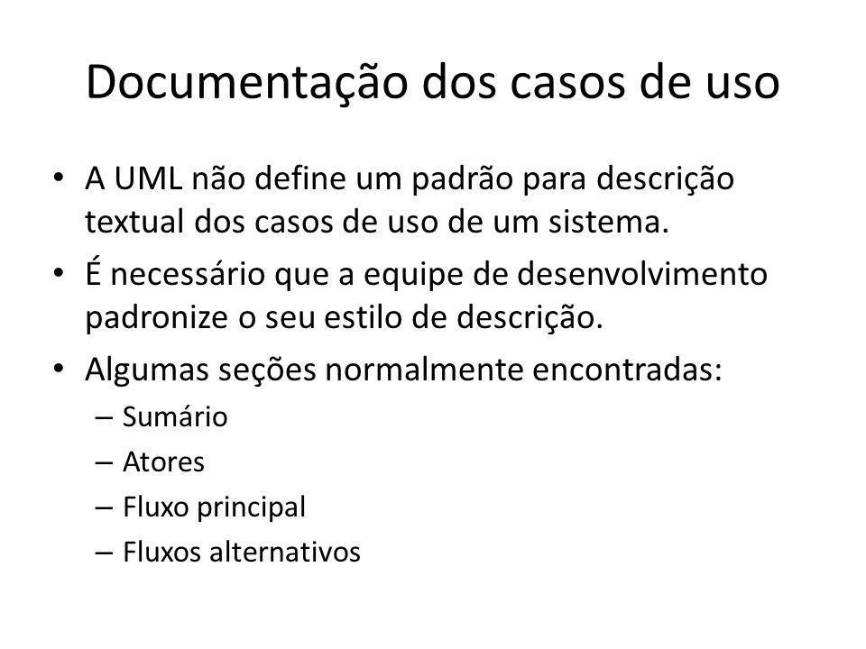 Documentação dos casos de uso A UML não define um padrão para descrição textual dos casos de uso de um sistema. É necessário que a equipe de desenvolv