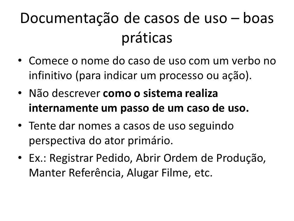 Documentação de casos de uso – boas práticas Comece o nome do caso de uso com um verbo no infinitivo (para indicar um processo ou ação). Não descrever
