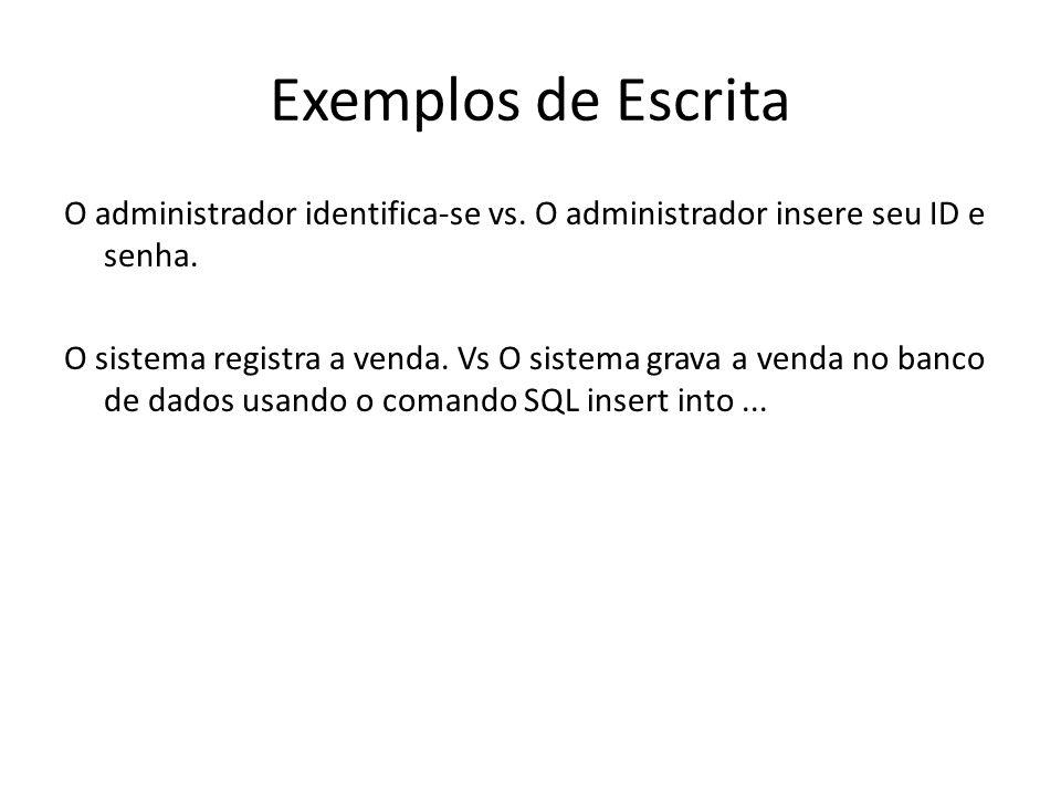 Exemplos de Escrita O administrador identifica-se vs. O administrador insere seu ID e senha. O sistema registra a venda. Vs O sistema grava a venda no