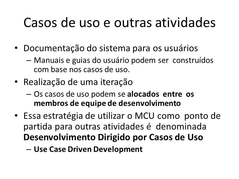 Casos de uso e outras atividades Documentação do sistema para os usuários – Manuais e guias do usuário podem ser construídos com base nos casos de uso