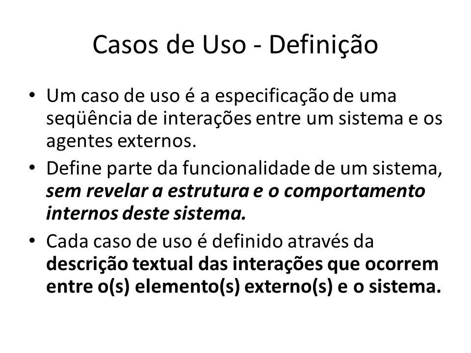 Elementos dos Diagramas de Casos de Uso Atores e Casos de uso Relacionamentos entre esses elementos: – Comunicação – Inclusão – Extensão – Generalização Para cada um desses elementos, a UML define uma notação gráfica e uma semântica específicas.
