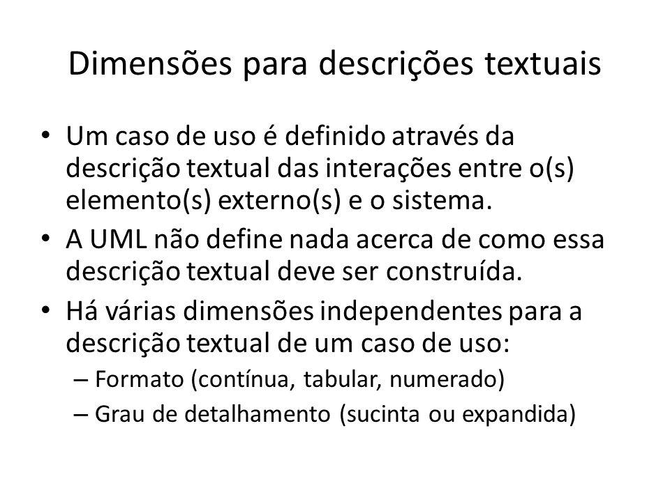 Dimensões para descrições textuais Um caso de uso é definido através da descrição textual das interações entre o(s) elemento(s) externo(s) e o sistema
