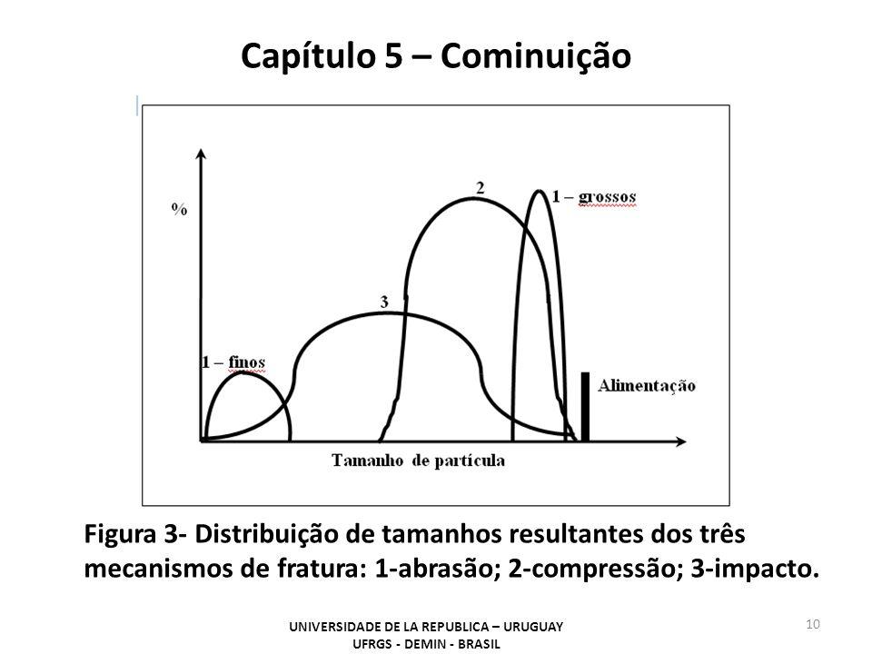 Capítulo 5 – Cominuição UNIVERSIDADE DE LA REPUBLICA – URUGUAY UFRGS - DEMIN - BRASIL 10 Figura 3- Distribuição de tamanhos resultantes dos três mecan