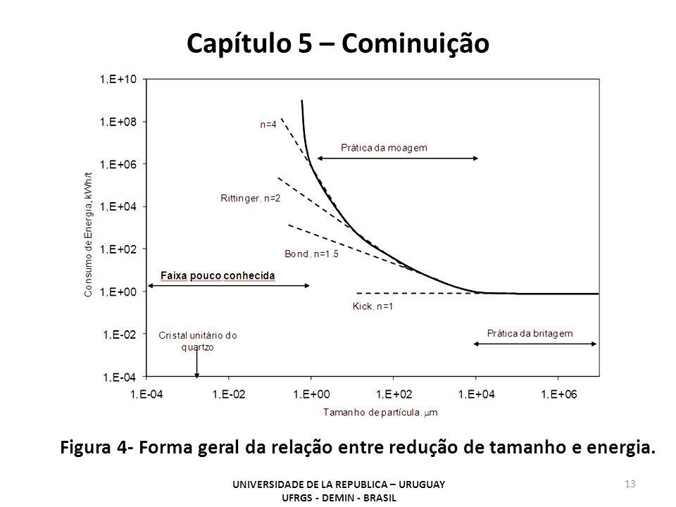 UNIVERSIDADE DE LA REPUBLICA – URUGUAY UFRGS - DEMIN - BRASIL 13 Capítulo 5 – Cominuição Figura 4- Forma geral da relação entre redução de tamanho e e