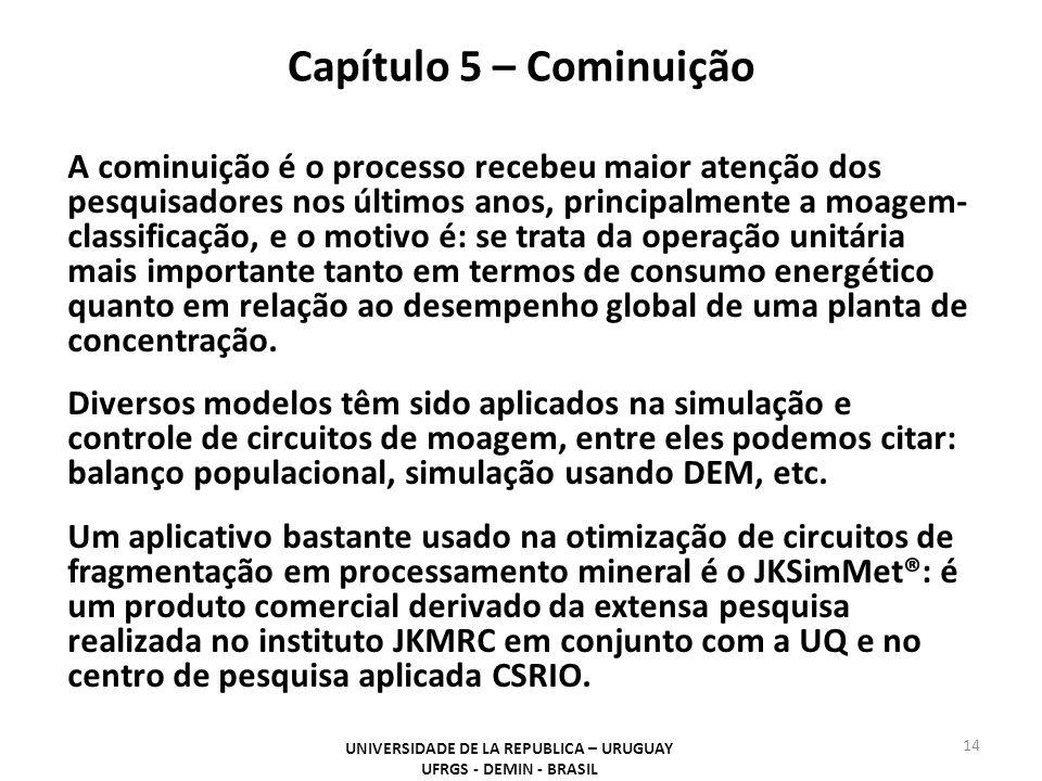 Capítulo 5 – Cominuição UNIVERSIDADE DE LA REPUBLICA – URUGUAY UFRGS - DEMIN - BRASIL 14 A cominuição é o processo recebeu maior atenção dos pesquisad