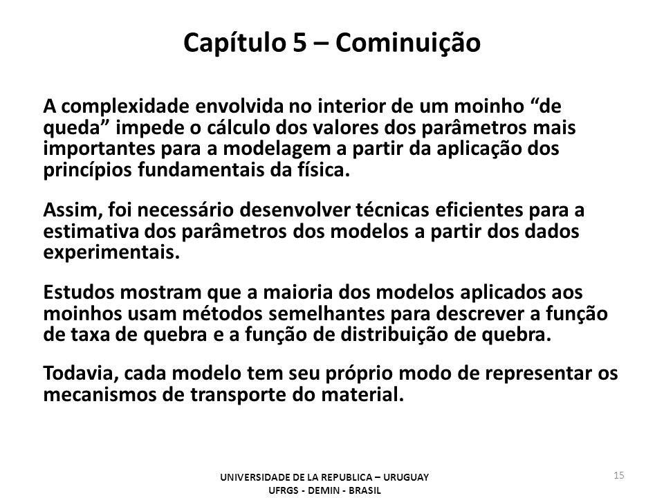 Capítulo 5 – Cominuição UNIVERSIDADE DE LA REPUBLICA – URUGUAY UFRGS - DEMIN - BRASIL 15 A complexidade envolvida no interior de um moinho de queda im
