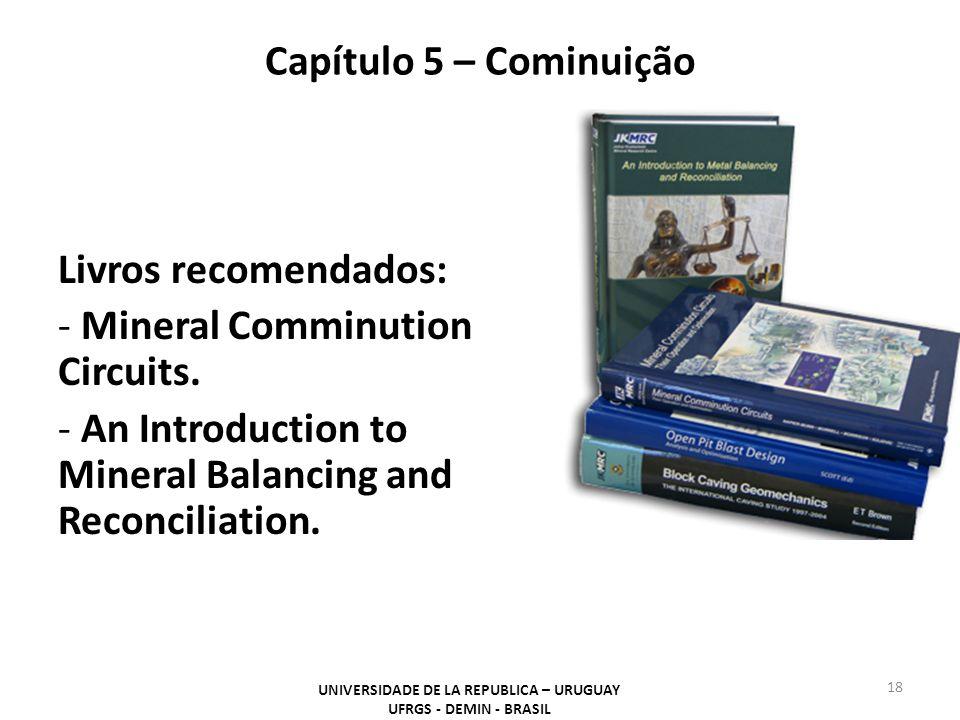 Capítulo 5 – Cominuição UNIVERSIDADE DE LA REPUBLICA – URUGUAY UFRGS - DEMIN - BRASIL 18 Livros recomendados: - Mineral Comminution Circuits. - An Int