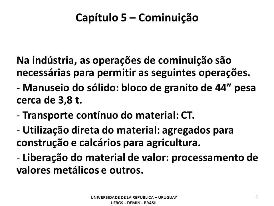 Capítulo 5 – Cominuição UNIVERSIDADE DE LA REPUBLICA – URUGUAY UFRGS - DEMIN - BRASIL 5 Em uma planta de metálicos, a britagem reduz o tamanho do sólido até o tamanho necessário para a operação posterior, a moagem.