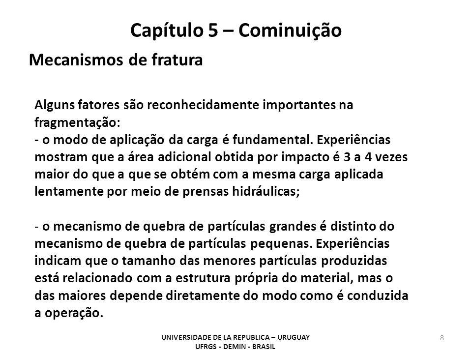 UNIVERSIDADE DE LA REPUBLICA – URUGUAY UFRGS - DEMIN - BRASIL 8 Capítulo 5 – Cominuição Alguns fatores são reconhecidamente importantes na fragmentaçã