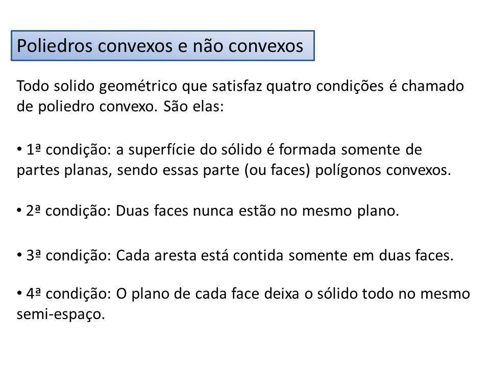 Poliedros convexos e não convexos Todo solido geométrico que satisfaz quatro condições é chamado de poliedro convexo. São elas: 1ª condição: a superfí