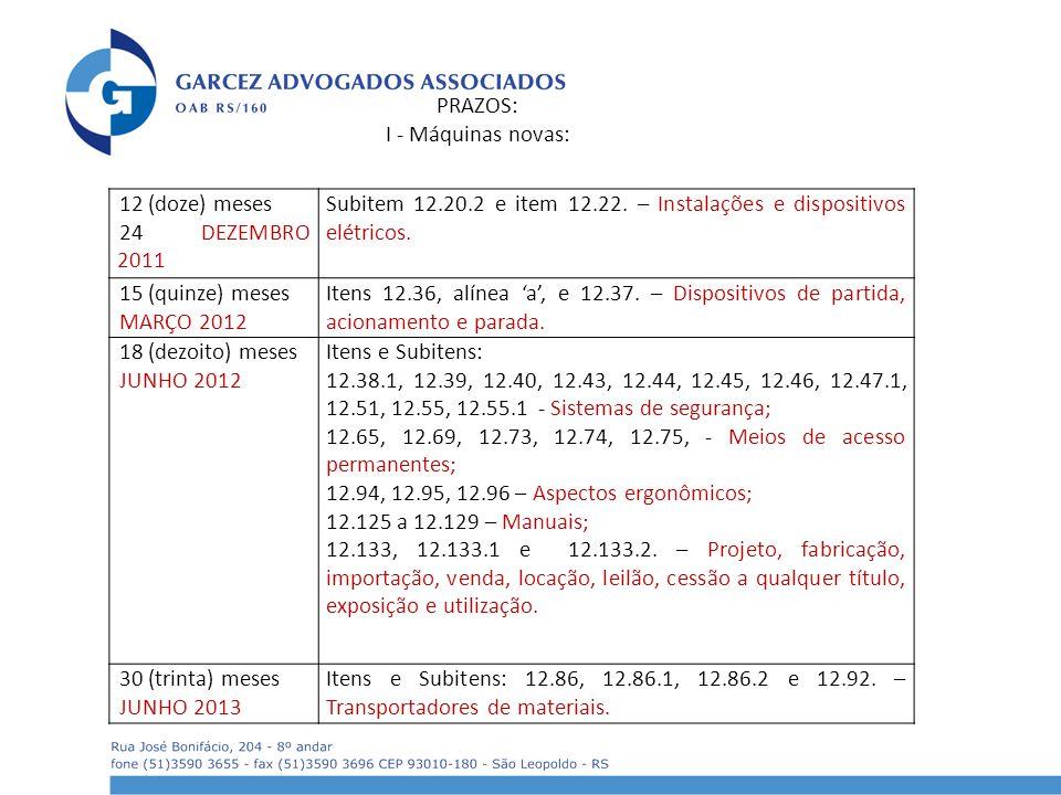 12 (doze) meses 24 DEZEMBRO 2011 Subitem 12.20.2 e item 12.22. – Instalações e dispositivos elétricos. 15 (quinze) meses MARÇO 2012 Itens 12.36, alíne