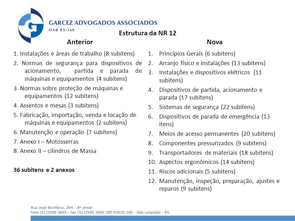 Estrutura da NR 12 Anterior 1. Instalações e áreas de trabalho (8 subitens) 2. Normas de segurança para dispositivos de acionamento, partida e parada