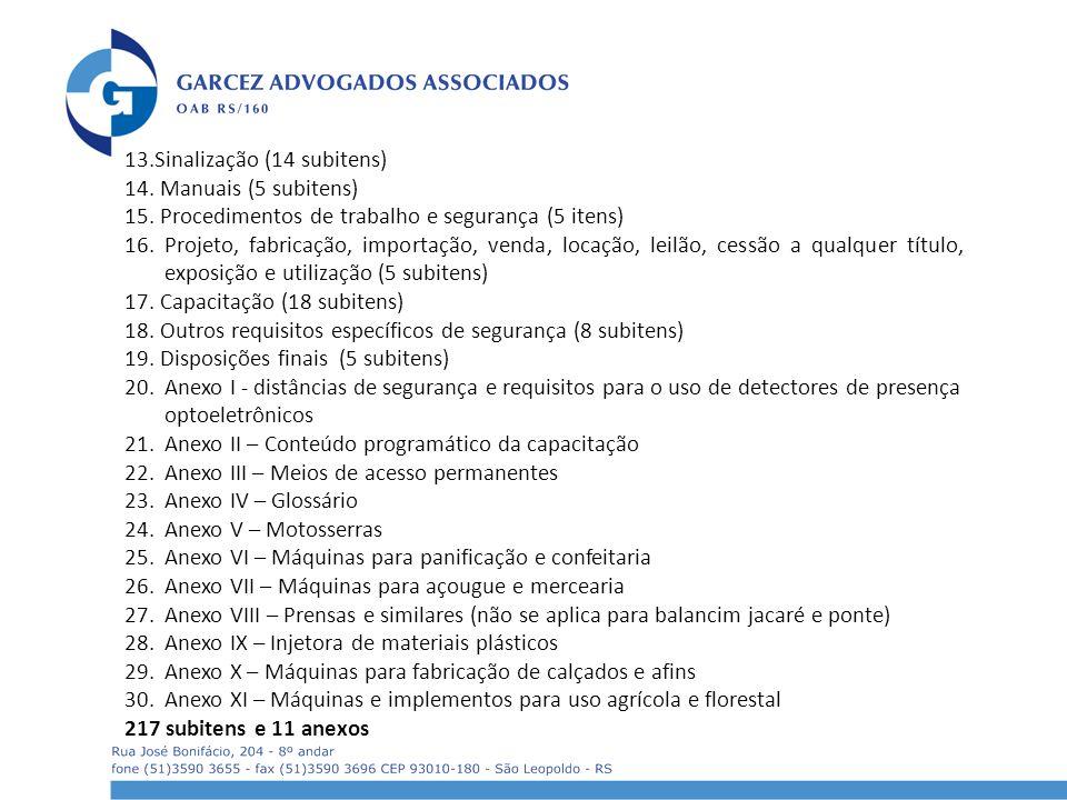 13.Sinalização (14 subitens) 14. Manuais (5 subitens) 15. Procedimentos de trabalho e segurança (5 itens) 16. Projeto, fabricação, importação, venda,