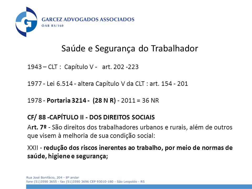 Saúde e Segurança do Trabalhador 1943 – CLT : Capítulo V - art. 202 -223 1977 - Lei 6.514 - altera Capítulo V da CLT : art. 154 - 201 1978 - Portaria