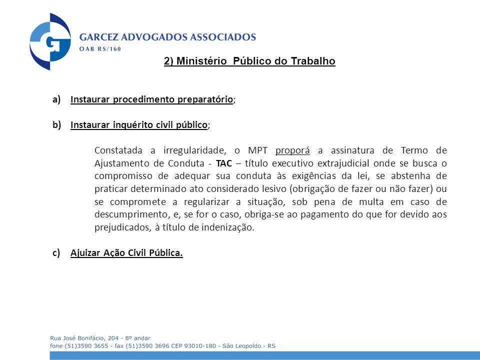 2) Ministério Público do Trabalho a)Instaurar procedimento preparatório; b)Instaurar inquérito civil público; Constatada a irregularidade, o MPT propo