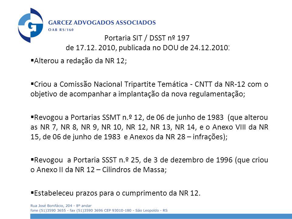 Portaria SIT / DSST nº 197 de 17.12. 2010, publicada no DOU de 24.12.2010 : Alterou a redação da NR 12; Criou a Comissão Nacional Tripartite Temática