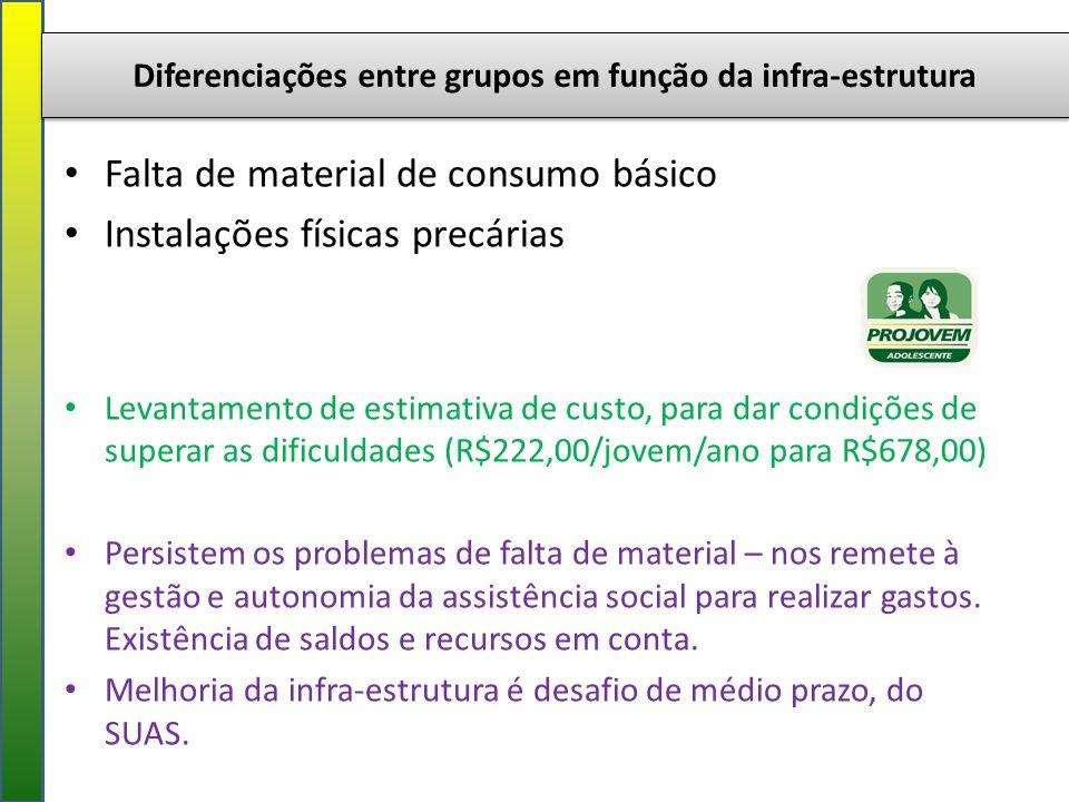 Diferenciações entre grupos em função da infra-estrutura Falta de material de consumo básico Instalações físicas precárias Levantamento de estimativa