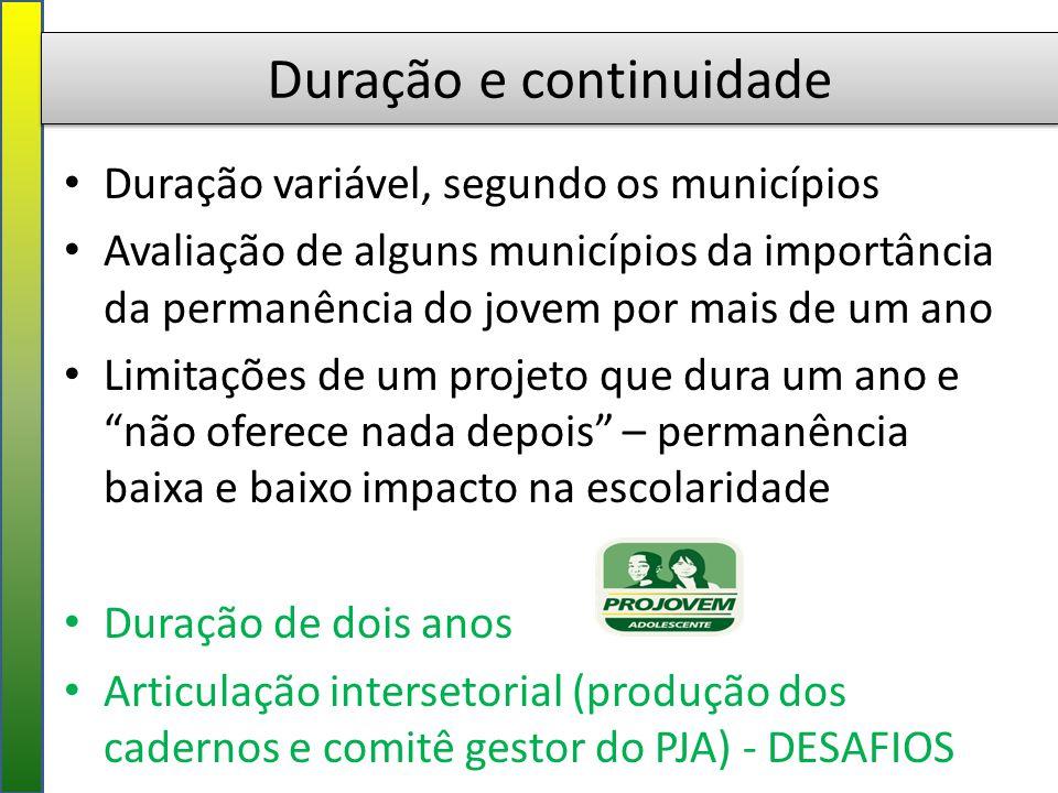 Duração e continuidade Duração variável, segundo os municípios Avaliação de alguns municípios da importância da permanência do jovem por mais de um an