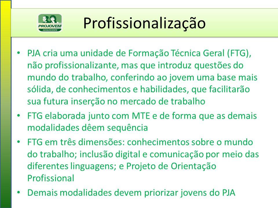 Profissionalização PJA cria uma unidade de Formação Técnica Geral (FTG), não profissionalizante, mas que introduz questões do mundo do trabalho, confe