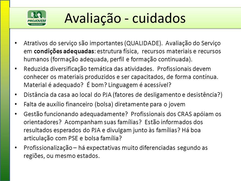 Avaliação - cuidados Atrativos do serviço são importantes (QUALIDADE). Avaliação do Serviço em condições adequadas: estrutura física, recursos materia