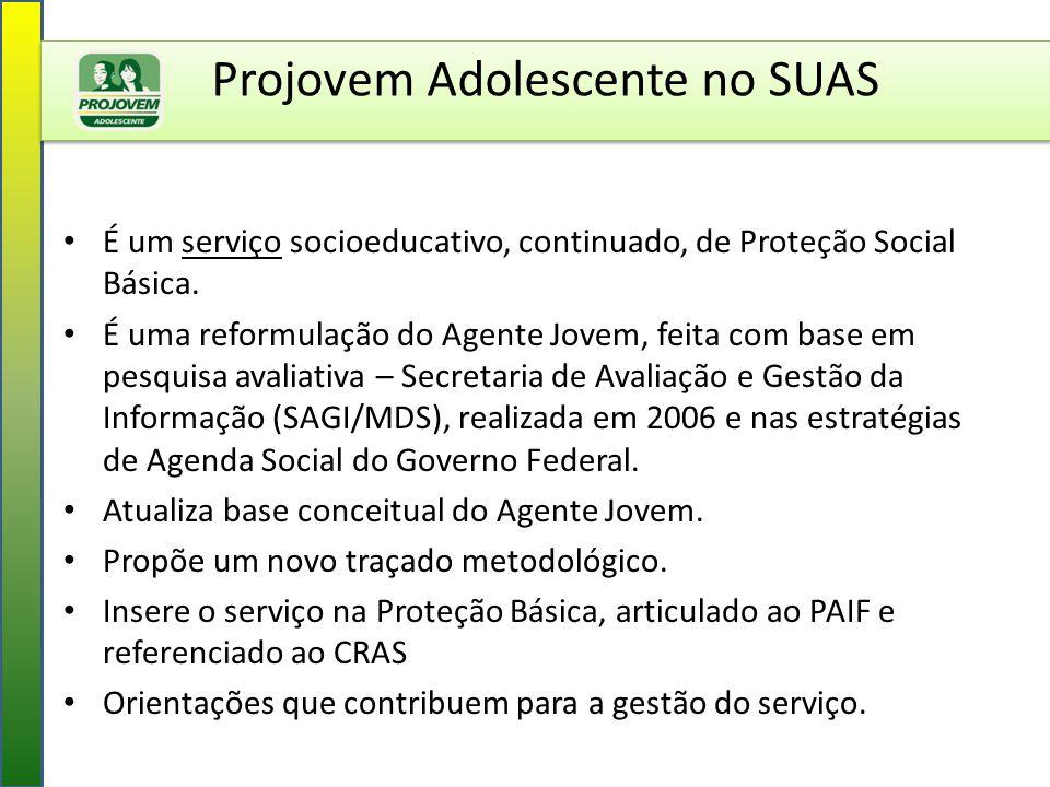 Projovem Adolescente no SUAS É um serviço socioeducativo, continuado, de Proteção Social Básica. É uma reformulação do Agente Jovem, feita com base em