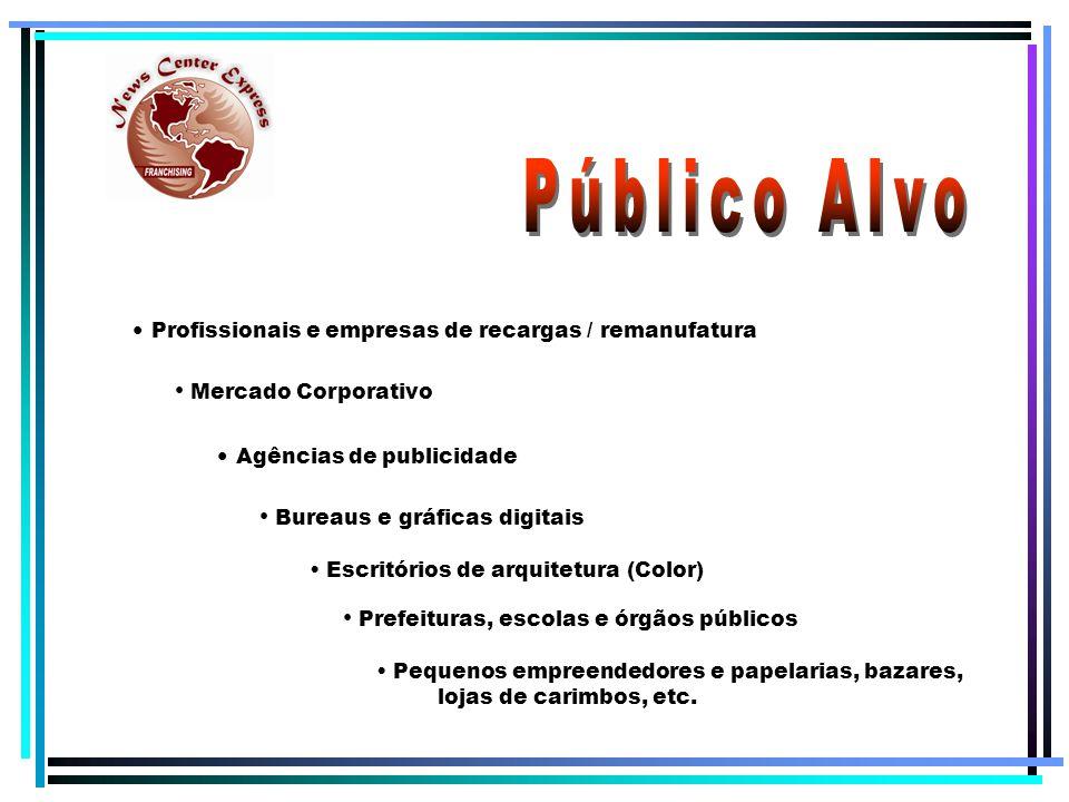 Mercado Corporativo Agências de publicidade Prefeituras, escolas e órgãos públicos Profissionais e empresas de recargas / remanufatura Bureaus e gráficas digitais Pequenos empreendedores e papelarias, bazares, lojas de carimbos, etc.