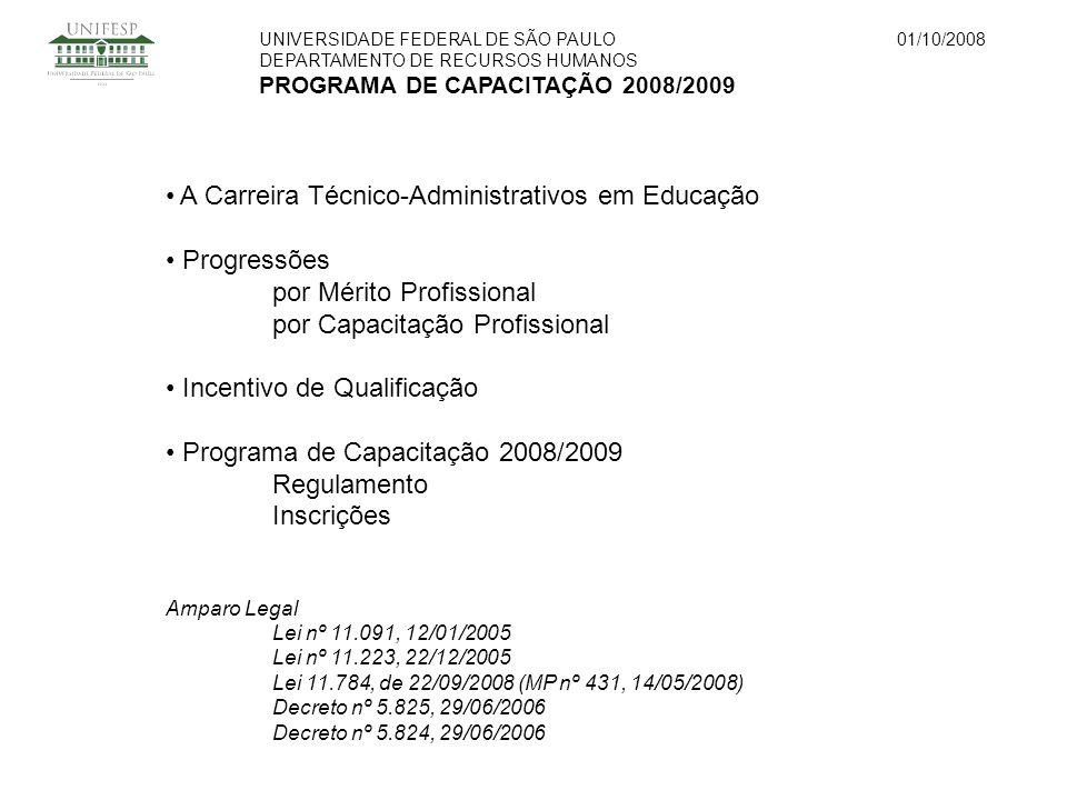 UNIVERSIDADE FEDERAL DE SÃO PAULO DEPARTAMENTO DE RECURSOS HUMANOS PROGRAMA DE CAPACITAÇÃO 2008/2009 01/10/2008 A Carreira Técnico-Administrativos em Educação Progressões por Mérito Profissional por Capacitação Profissional Incentivo de Qualificação Programa de Capacitação 2008/2009 Regulamento Inscrições Amparo Legal Lei nº 11.091, 12/01/2005 Lei nº 11.223, 22/12/2005 Lei 11.784, de 22/09/2008 (MP nº 431, 14/05/2008) Decreto nº 5.825, 29/06/2006 Decreto nº 5.824, 29/06/2006