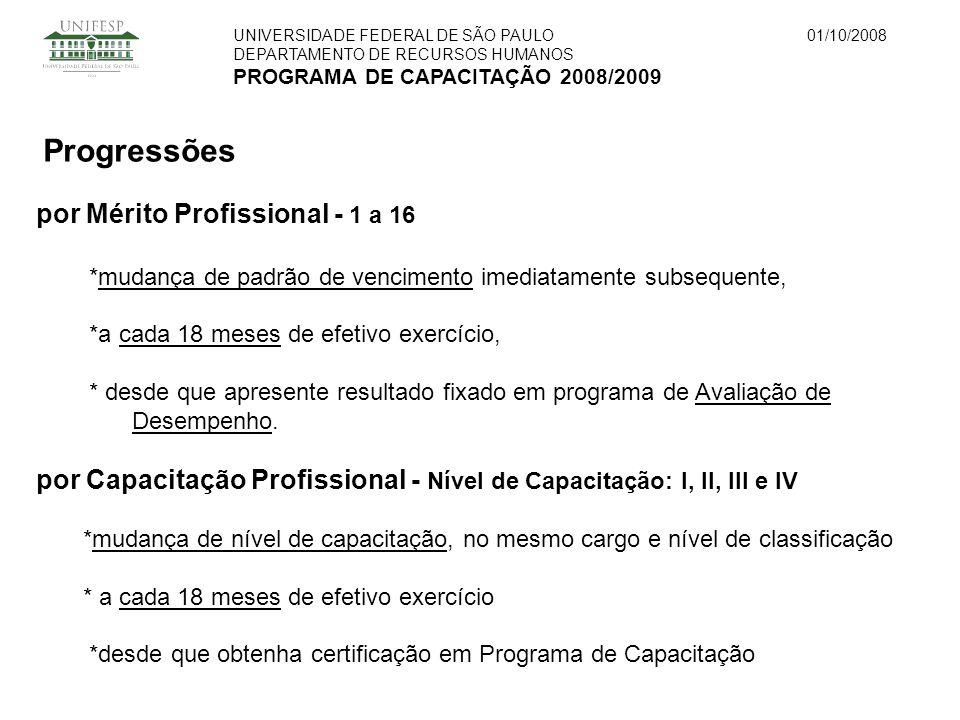 UNIVERSIDADE FEDERAL DE SÃO PAULO DEPARTAMENTO DE RECURSOS HUMANOS PROGRAMA DE CAPACITAÇÃO 2008/2009 01/10/2008 Progressões por Mérito Profissional -