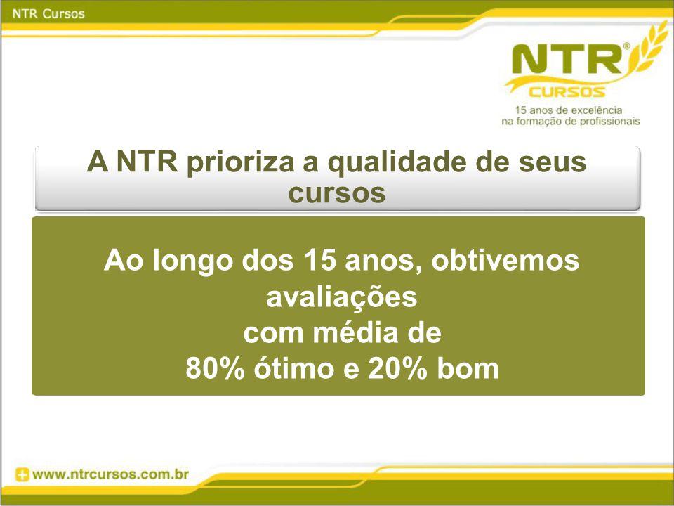 A NTR prioriza a qualidade de seus cursos Ao longo dos 15 anos, obtivemos avaliações com média de 80% ótimo e 20% bom