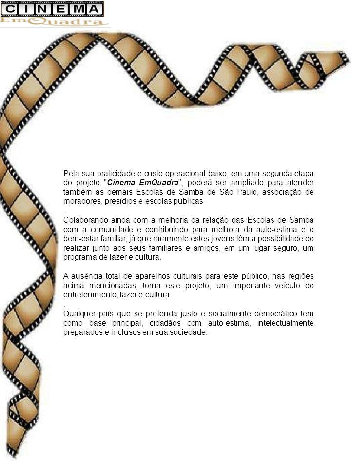 Pela sua praticidade e custo operacional baixo, em uma segunda etapa do projeto Cinema EmQuadra , poderá ser ampliado para atender também as demais Escolas de Samba de São Paulo, associação de moradores, presídios e escolas públicas.