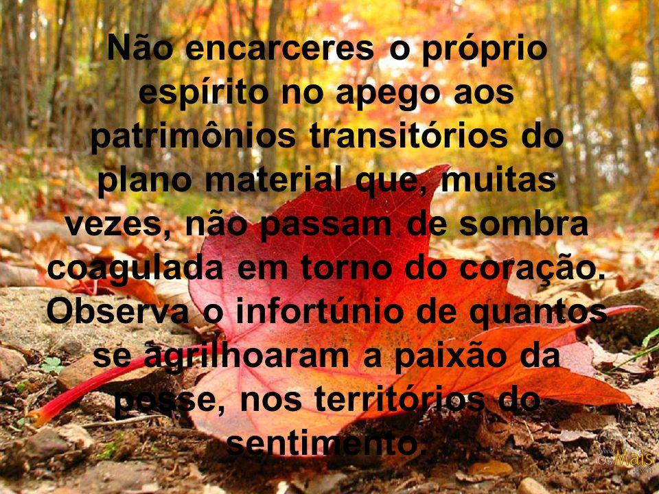 Não encarceres o próprio espírito no apego aos patrimônios transitórios do plano material que, muitas vezes, não passam de sombra coagulada em torno d