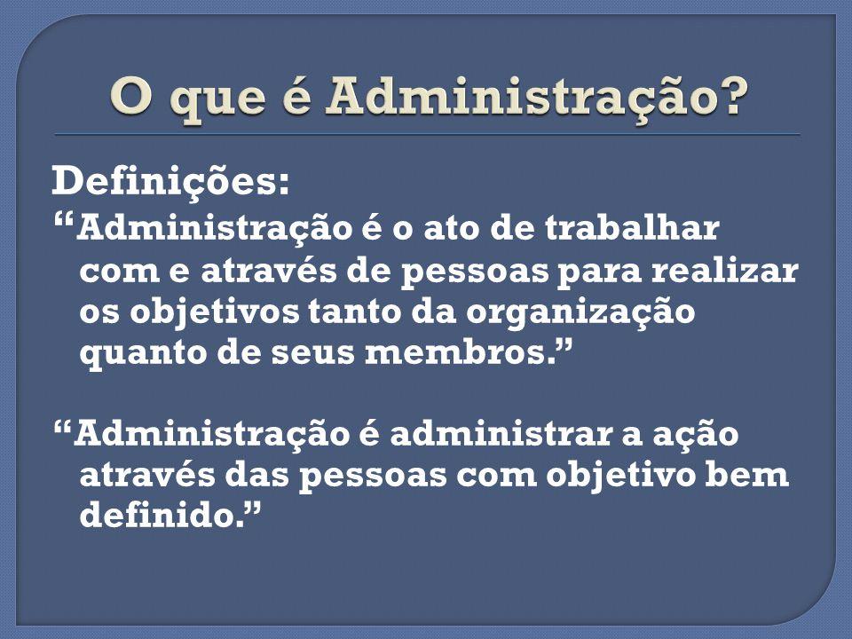 Definições: Administração é o ato de trabalhar com e através de pessoas para realizar os objetivos tanto da organização quanto de seus membros. Admini