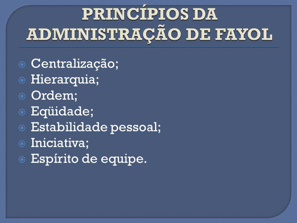 Centralização; Hierarquia; Ordem; Eqüidade; Estabilidade pessoal; Iniciativa; Espírito de equipe.