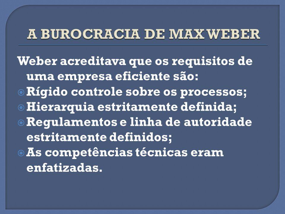 Weber acreditava que os requisitos de uma empresa eficiente são: Rígido controle sobre os processos; Hierarquia estritamente definida; Regulamentos e