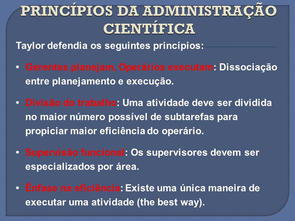 Taylor defendia os seguintes princípios: Gerentes planejam, Operários executam: Dissociação entre planejamento e execução. Divisão do trabalho: Uma at