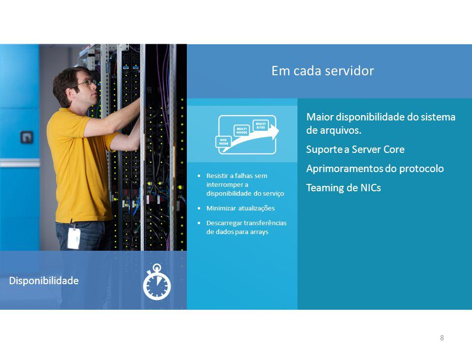 8 Disponibilidade Maior disponibilidade do sistema de arquivos.