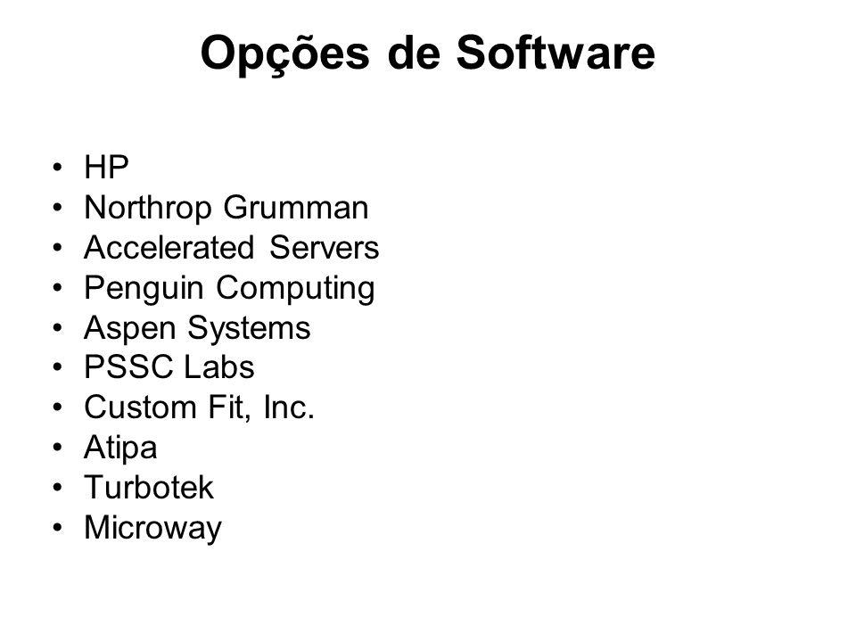 Opções de Software HP Northrop Grumman Accelerated Servers Penguin Computing Aspen Systems PSSC Labs Custom Fit, Inc. Atipa Turbotek Microway
