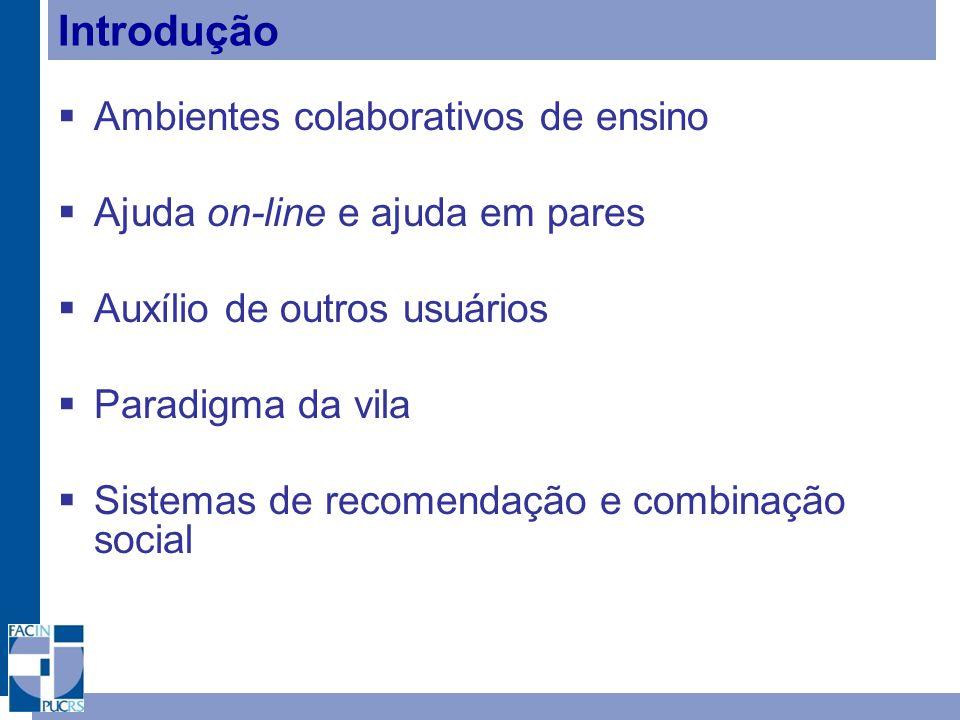 Introdução Ambientes colaborativos de ensino Ajuda on-line e ajuda em pares Auxílio de outros usuários Paradigma da vila Sistemas de recomendação e co