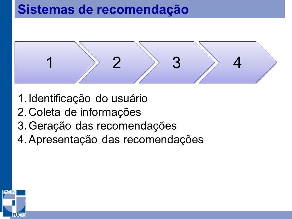 Sistemas de recomendação 1 1 2 2 3 3 4 4 1.Identificação do usuário 2.Coleta de informações 3.Geração das recomendações 4.Apresentação das recomendaçõ