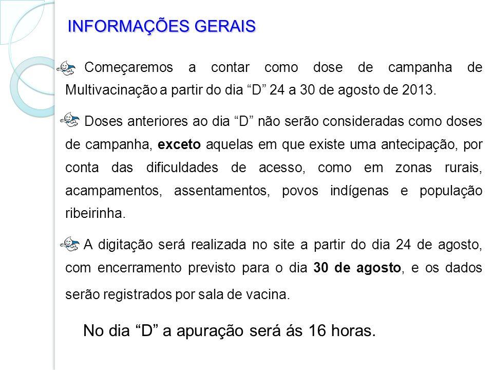 Começaremos a contar como dose de campanha de Multivacinação a partir do dia D 24 a 30 de agosto de 2013. Doses anteriores ao dia D não serão consider