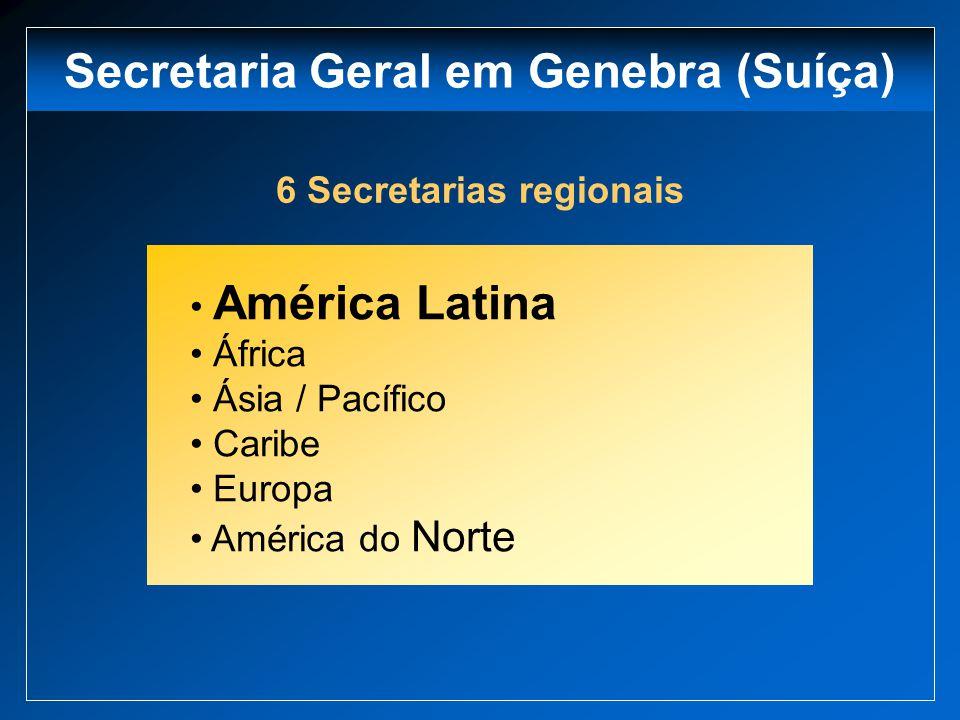 Secretaria Geral em Genebra (Suíça) 6 Secretarias regionais América Latina África Ásia / Pacífico Caribe Europa América do Norte