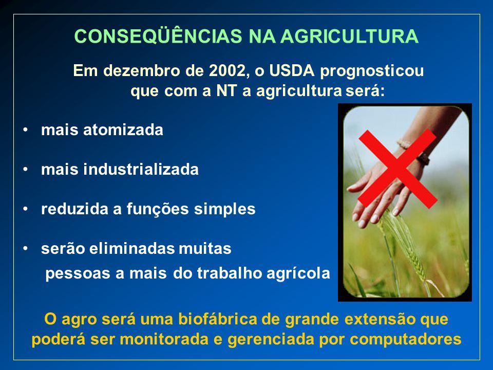 Em dezembro de 2002, o USDA prognosticou que com a NT a agricultura será: mais atomizada mais industrializada reduzida a funções simples serão elimina