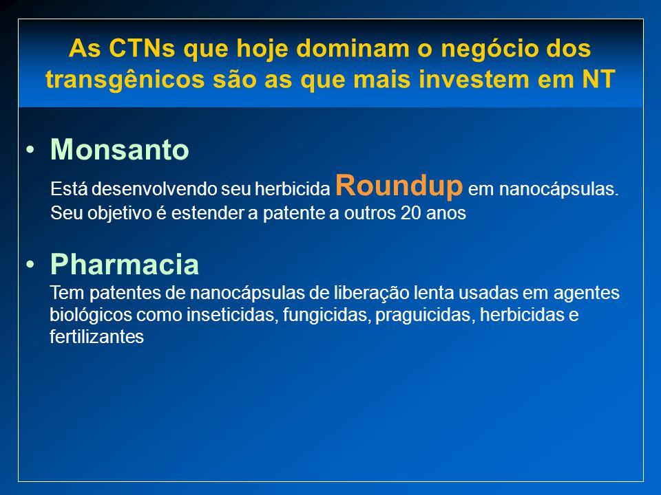 As CTNs que hoje dominam o negócio dos transgênicos são as que mais investem em NT Monsanto Está desenvolvendo seu herbicida Roundup em nanocápsulas.