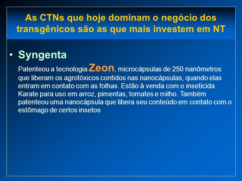 Syngenta Patenteou a tecnologia Zeon, microcápsulas de 250 nanômetros que liberam os agrotóxicos contidos nas nanocápsulas, quando elas entram em cont