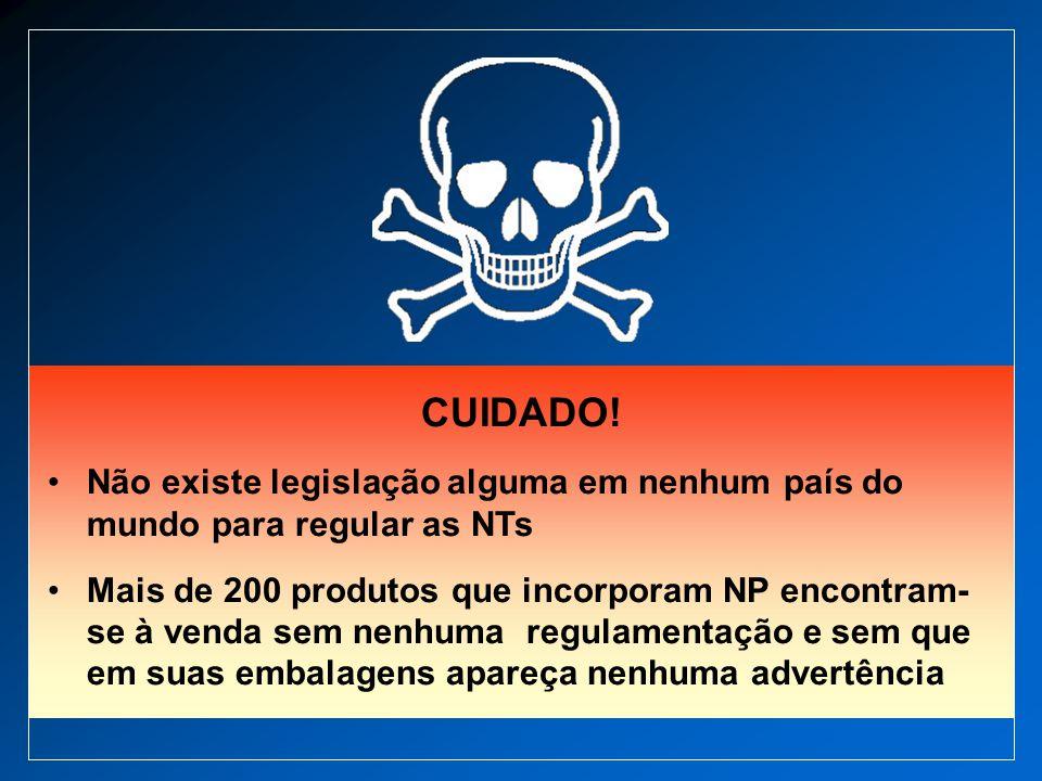 CUIDADO! Não existe legislação alguma em nenhum país do mundo para regular as NTs Mais de 200 produtos que incorporam NP encontram- se à venda sem nen
