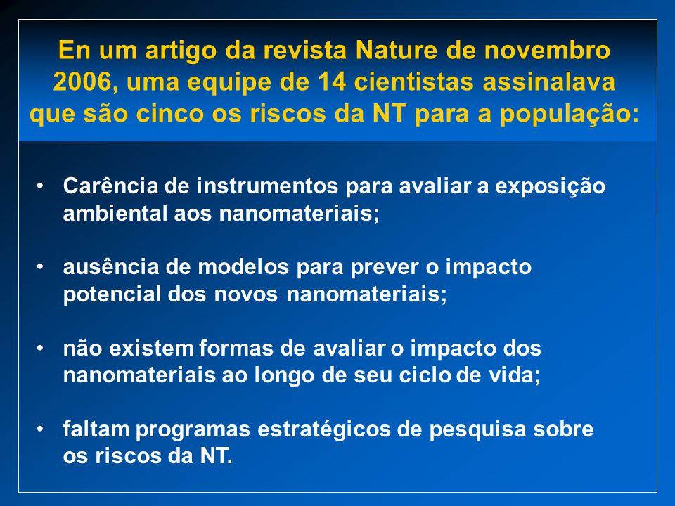 Carência de instrumentos para avaliar a exposição ambiental aos nanomateriais; ausência de modelos para prever o impacto potencial dos novos nanomater