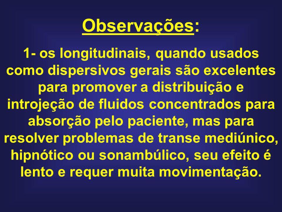 Observações: 1- os longitudinais, quando usados como dispersivos gerais são excelentes para promover a distribuição e introjeção de fluidos concentrad