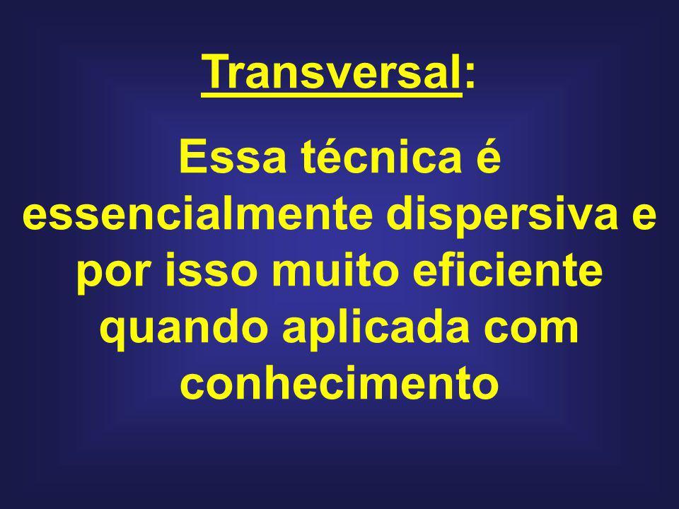 Transversal: Essa técnica é essencialmente dispersiva e por isso muito eficiente quando aplicada com conhecimento