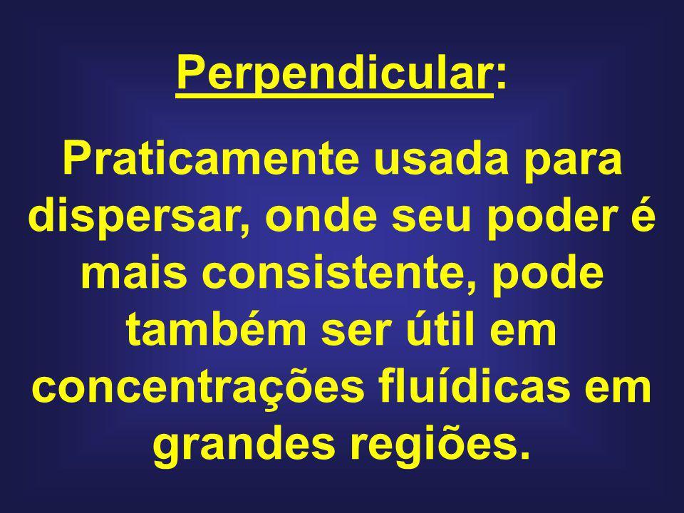 Perpendicular: Praticamente usada para dispersar, onde seu poder é mais consistente, pode também ser útil em concentrações fluídicas em grandes regiõe
